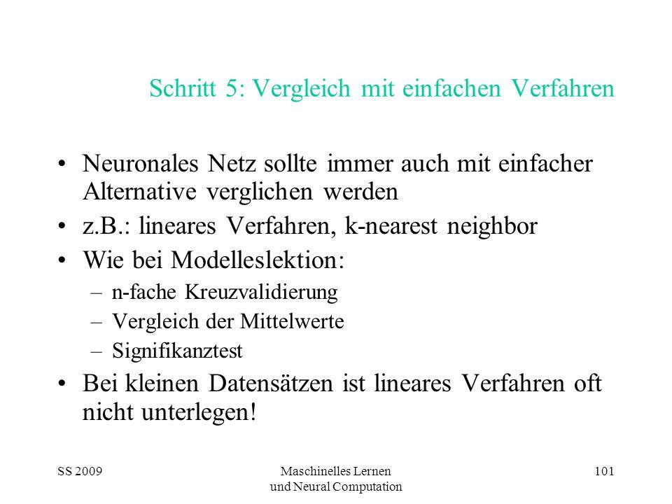 SS 2009Maschinelles Lernen und Neural Computation 101 Schritt 5: Vergleich mit einfachen Verfahren Neuronales Netz sollte immer auch mit einfacher Alt