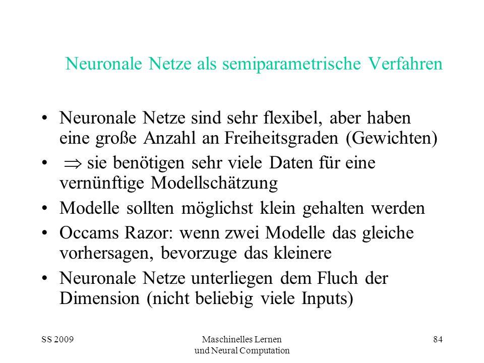SS 2009Maschinelles Lernen und Neural Computation 84 Neuronale Netze als semiparametrische Verfahren Neuronale Netze sind sehr flexibel, aber haben eine große Anzahl an Freiheitsgraden (Gewichten) sie benötigen sehr viele Daten für eine vernünftige Modellschätzung Modelle sollten möglichst klein gehalten werden Occams Razor: wenn zwei Modelle das gleiche vorhersagen, bevorzuge das kleinere Neuronale Netze unterliegen dem Fluch der Dimension (nicht beliebig viele Inputs)