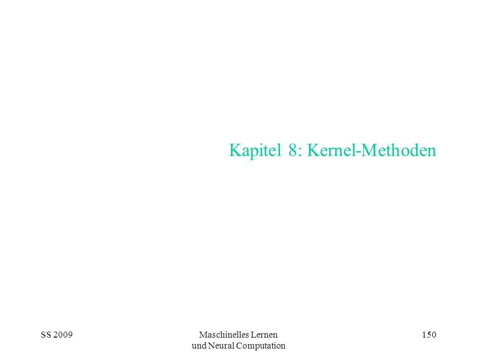 SS 2009Maschinelles Lernen und Neural Computation 150 Kapitel 8: Kernel-Methoden