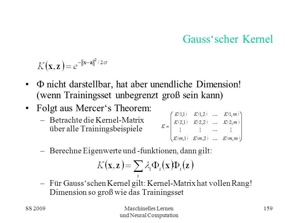 SS 2009Maschinelles Lernen und Neural Computation 159 Gaussscher Kernel Ф nicht darstellbar, hat aber unendliche Dimension! (wenn Trainingsset unbegre