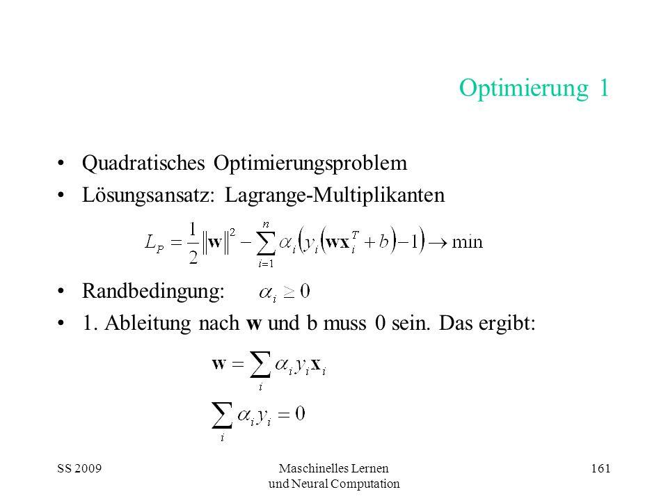 SS 2009Maschinelles Lernen und Neural Computation 161 Optimierung 1 Quadratisches Optimierungsproblem Lösungsansatz: Lagrange-Multiplikanten Randbedin
