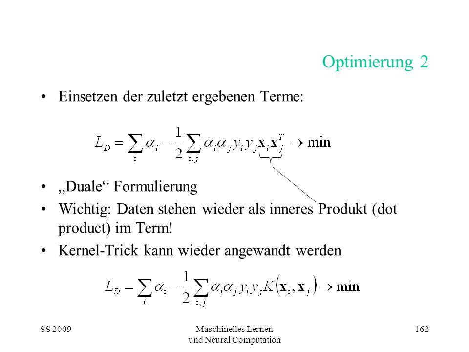 SS 2009Maschinelles Lernen und Neural Computation 162 Optimierung 2 Einsetzen der zuletzt ergebenen Terme: Duale Formulierung Wichtig: Daten stehen wi