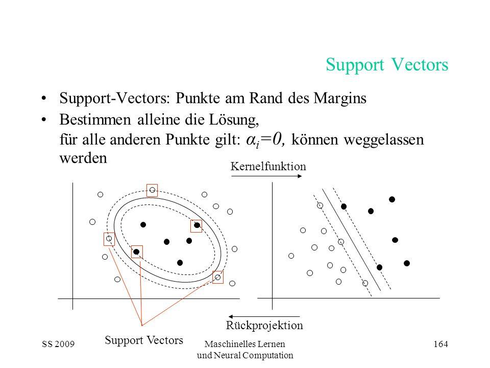 SS 2009Maschinelles Lernen und Neural Computation 164 Support Vectors Support-Vectors: Punkte am Rand des Margins Bestimmen alleine die Lösung, für al