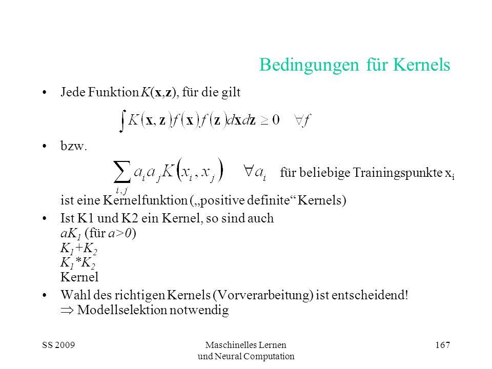 SS 2009Maschinelles Lernen und Neural Computation 167 Bedingungen für Kernels Jede Funktion K(x,z), für die gilt bzw. ist eine Kernelfunktion (positiv
