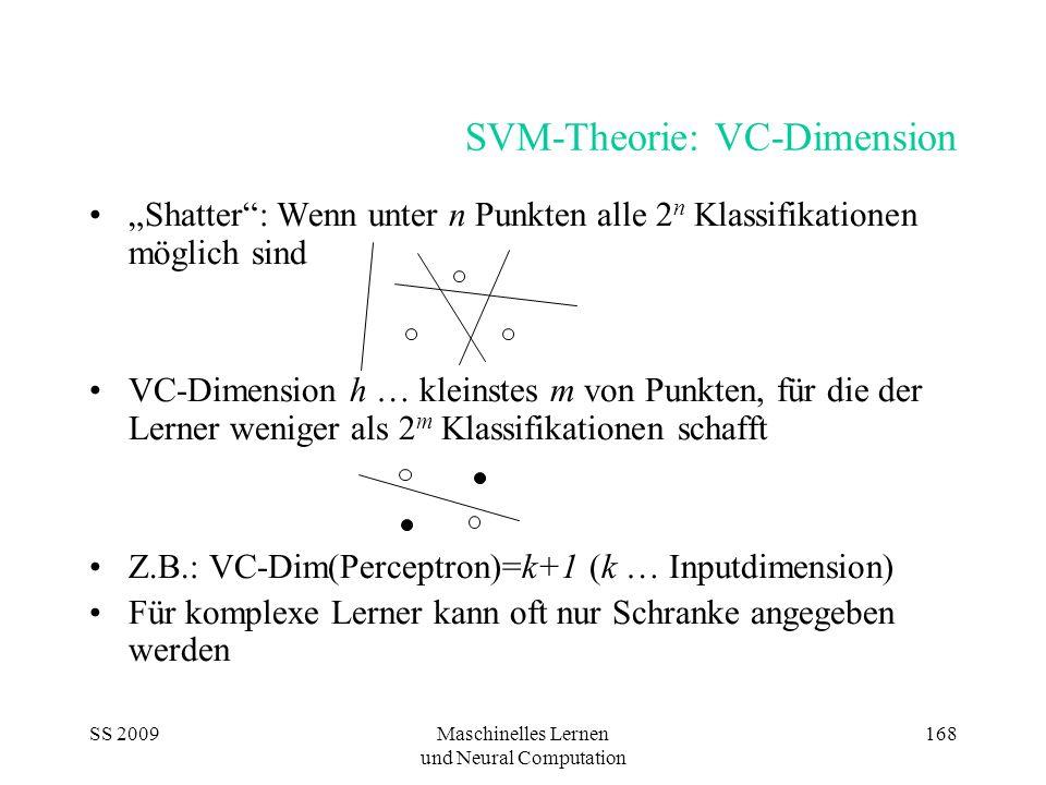 SS 2009Maschinelles Lernen und Neural Computation 168 SVM-Theorie: VC-Dimension Shatter: Wenn unter n Punkten alle 2 n Klassifikationen möglich sind V