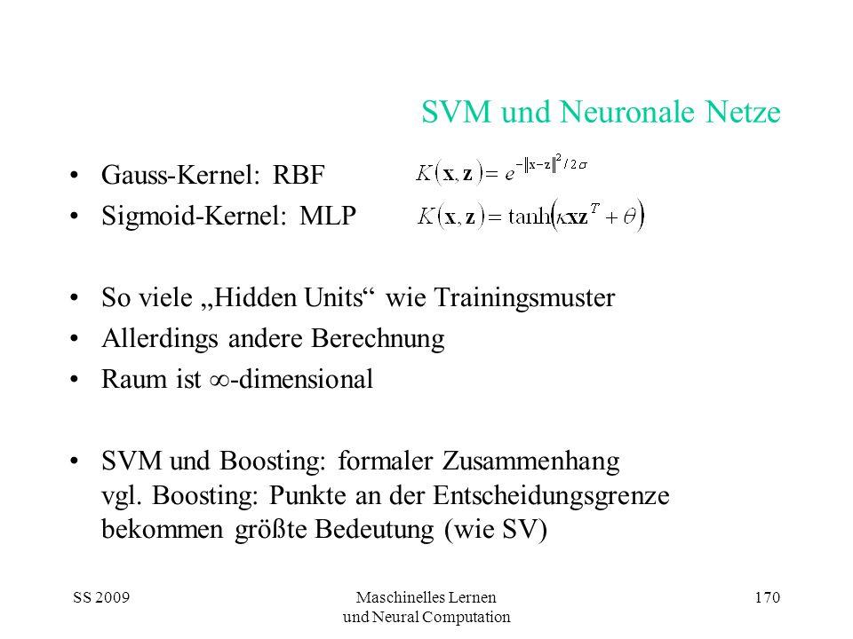 SS 2009Maschinelles Lernen und Neural Computation 170 SVM und Neuronale Netze Gauss-Kernel: RBF Sigmoid-Kernel: MLP So viele Hidden Units wie Training