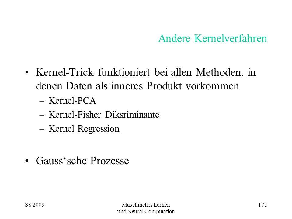 SS 2009Maschinelles Lernen und Neural Computation 171 Andere Kernelverfahren Kernel-Trick funktioniert bei allen Methoden, in denen Daten als inneres
