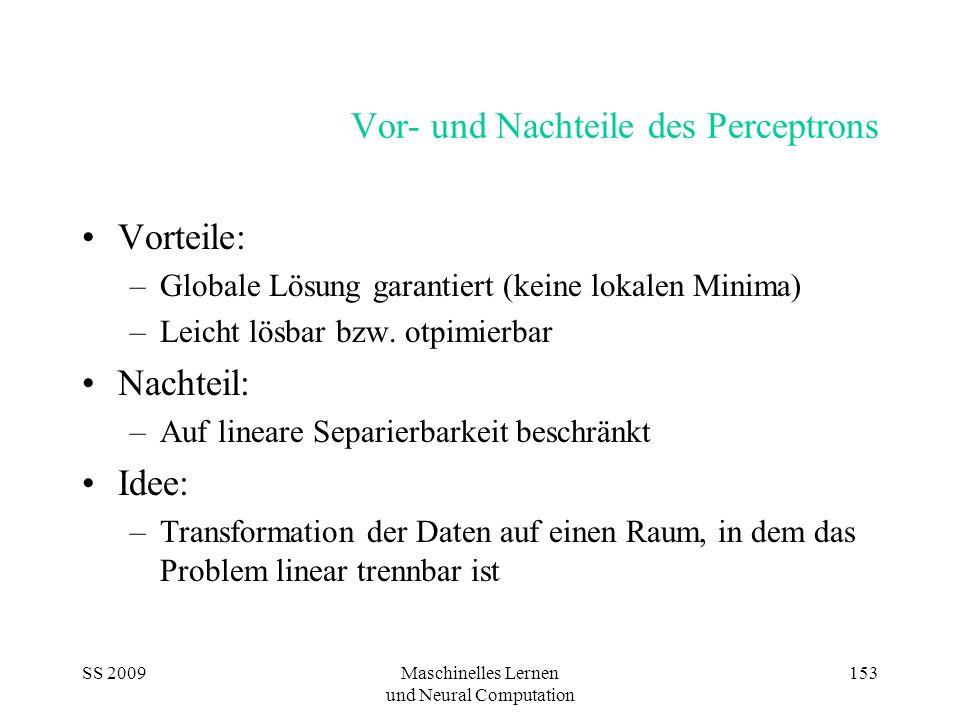 SS 2009Maschinelles Lernen und Neural Computation 153 Vor- und Nachteile des Perceptrons Vorteile: –Globale Lösung garantiert (keine lokalen Minima) –
