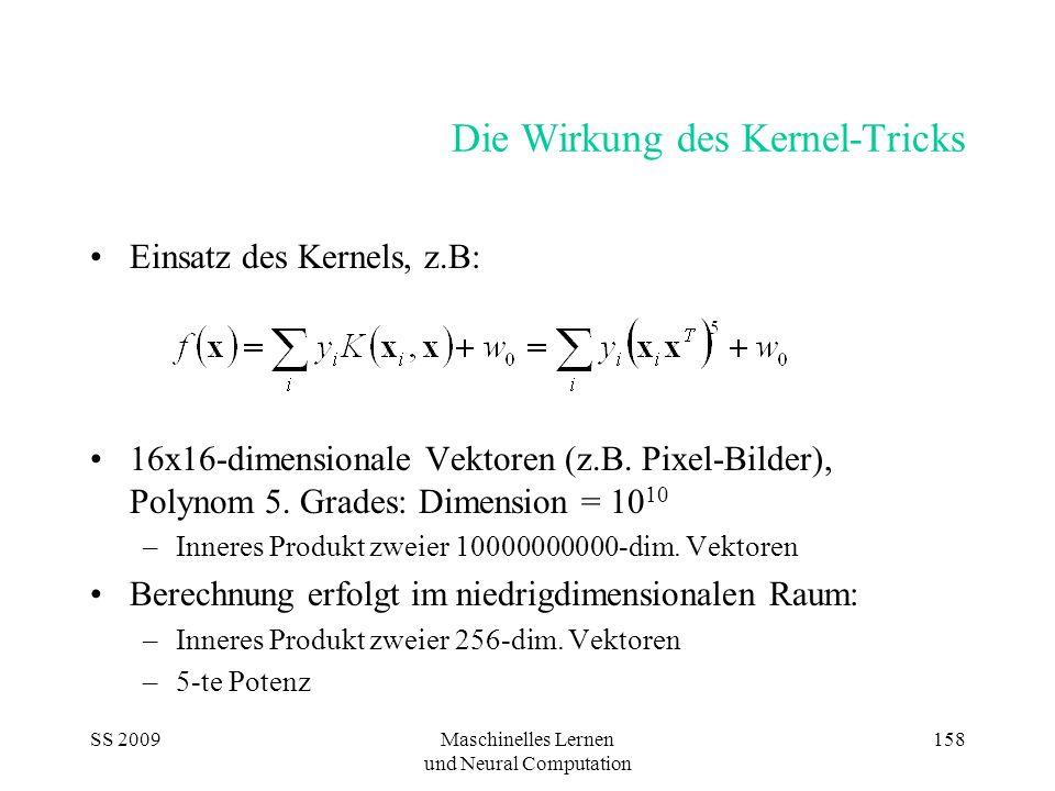 SS 2009Maschinelles Lernen und Neural Computation 158 Die Wirkung des Kernel-Tricks Einsatz des Kernels, z.B: 16x16-dimensionale Vektoren (z.B. Pixel-