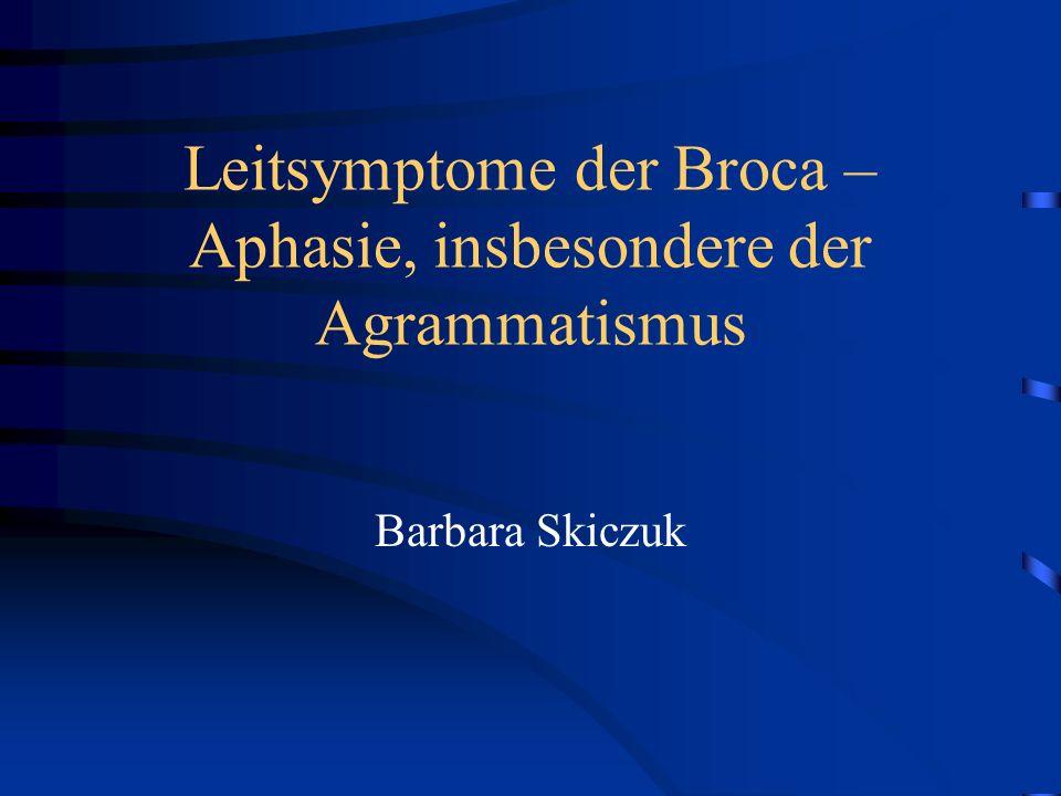 Leitsymptome der Broca – Aphasie, insbesondere der Agrammatismus Barbara Skiczuk