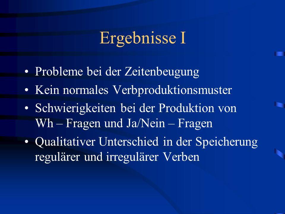 Ergebnisse I Probleme bei der Zeitenbeugung Kein normales Verbproduktionsmuster Schwierigkeiten bei der Produktion von Wh – Fragen und Ja/Nein – Frage