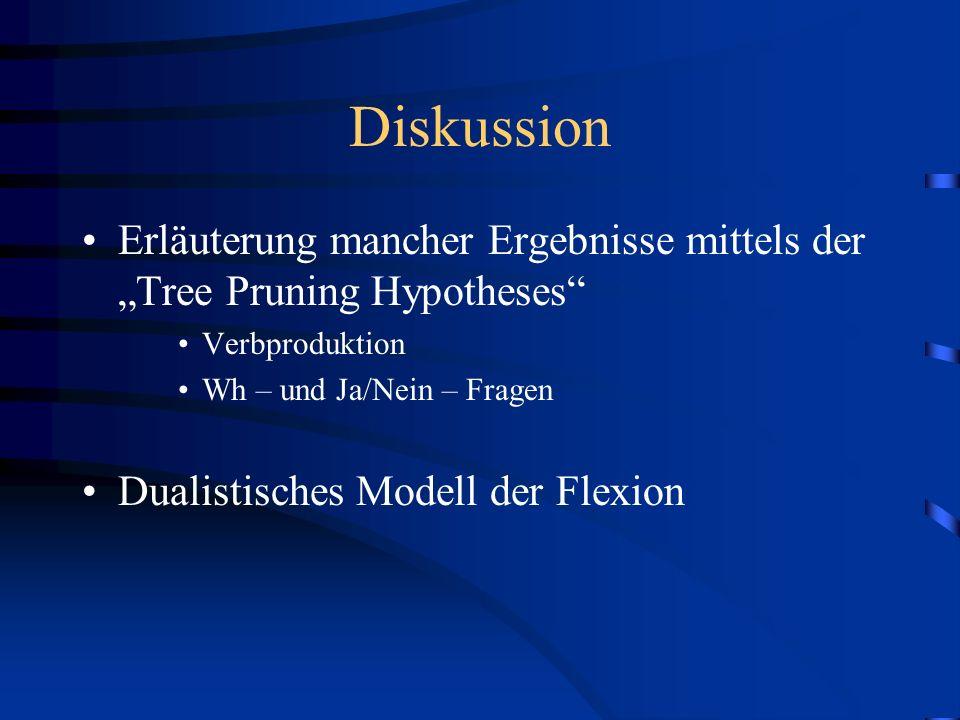 Diskussion Erläuterung mancher Ergebnisse mittels der Tree Pruning Hypotheses Verbproduktion Wh – und Ja/Nein – Fragen Dualistisches Modell der Flexio