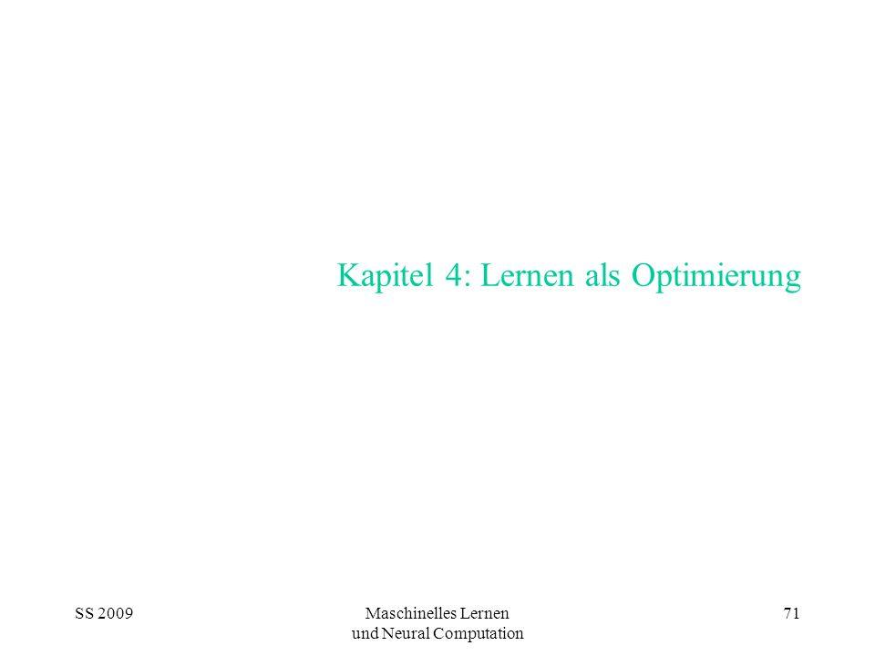SS 2009Maschinelles Lernen und Neural Computation 71 Kapitel 4: Lernen als Optimierung