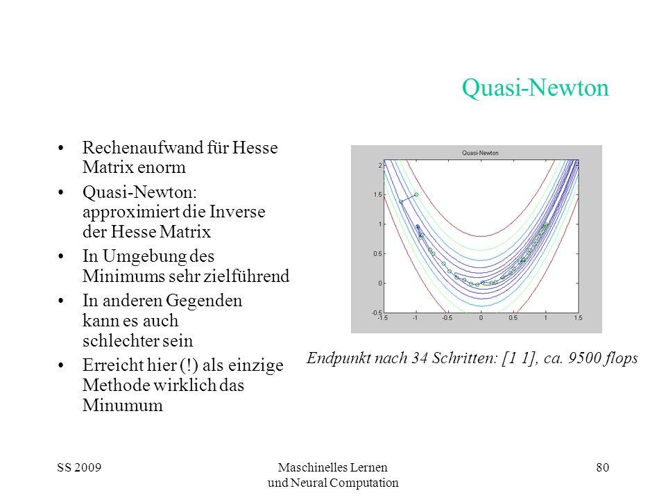 SS 2009Maschinelles Lernen und Neural Computation 80 Quasi-Newton Rechenaufwand für Hesse Matrix enorm Quasi-Newton: approximiert die Inverse der Hess