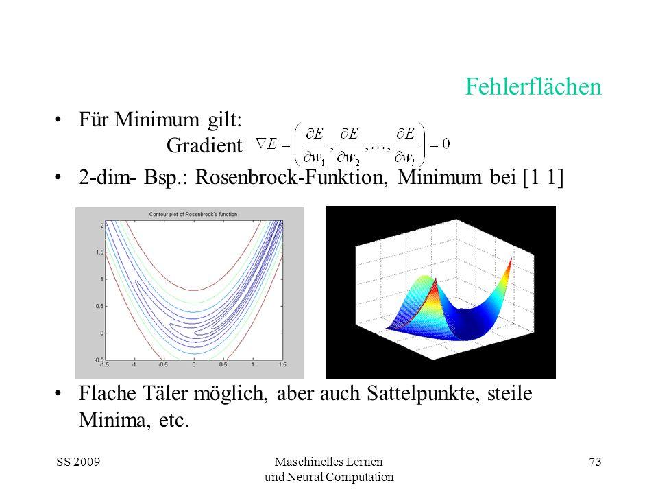 SS 2009Maschinelles Lernen und Neural Computation 73 Fehlerflächen Für Minimum gilt: Gradient 2-dim- Bsp.: Rosenbrock-Funktion, Minimum bei [1 1] Flac