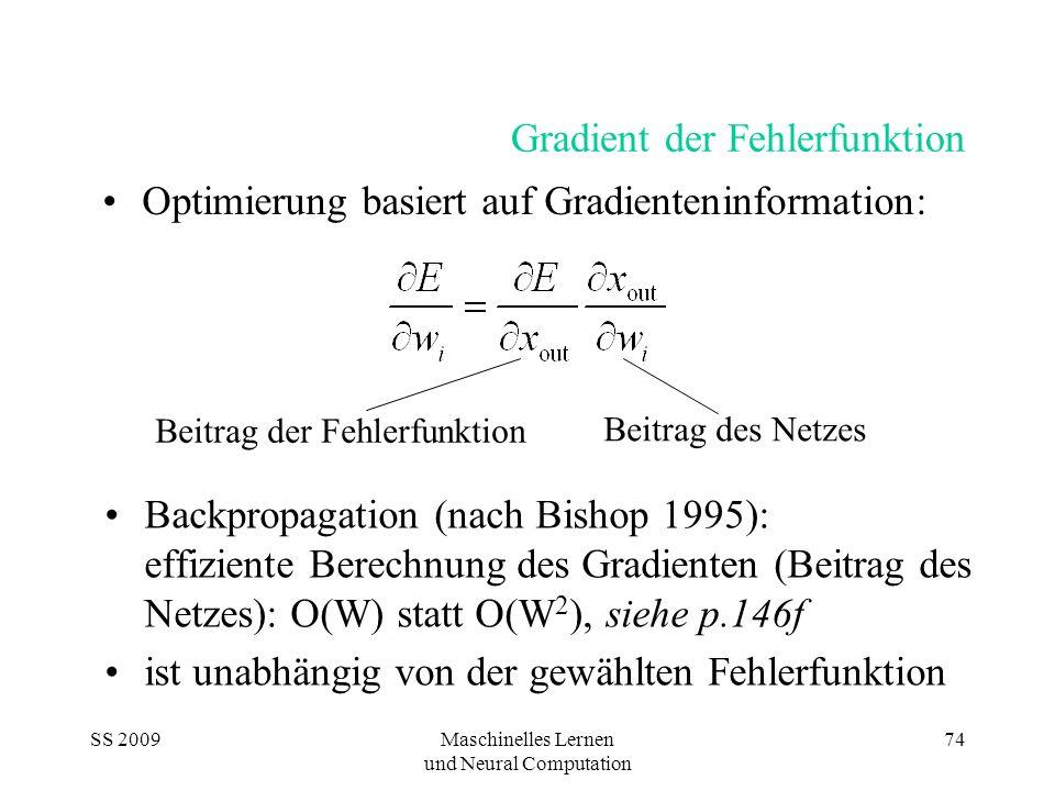 SS 2009Maschinelles Lernen und Neural Computation 74 Gradient der Fehlerfunktion Backpropagation (nach Bishop 1995): effiziente Berechnung des Gradien