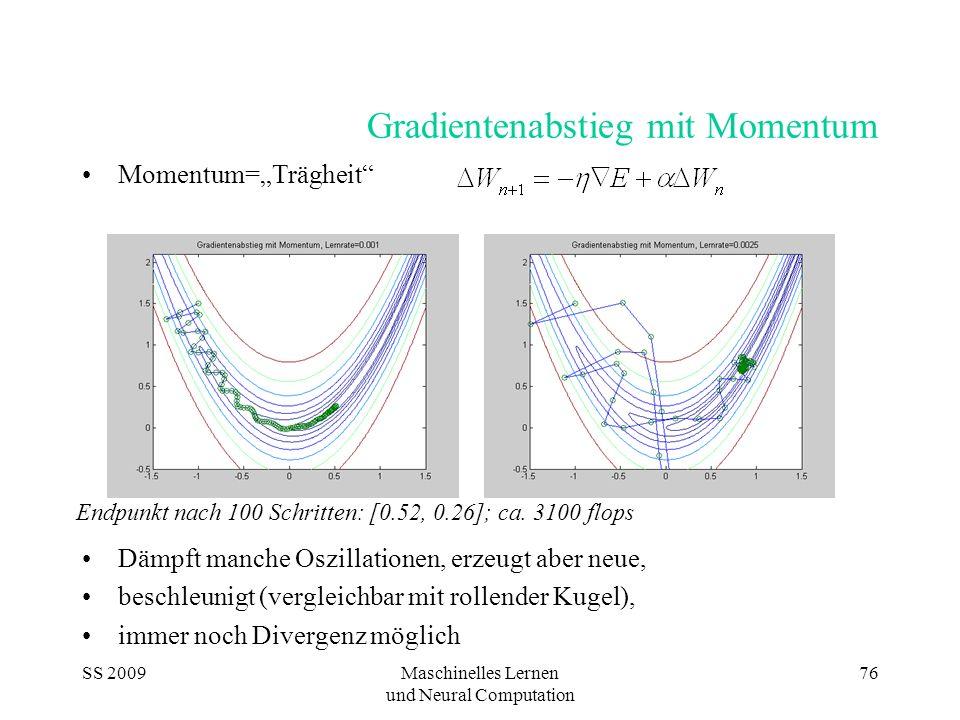 SS 2009Maschinelles Lernen und Neural Computation 76 Gradientenabstieg mit Momentum Momentum=Trägheit Dämpft manche Oszillationen, erzeugt aber neue,