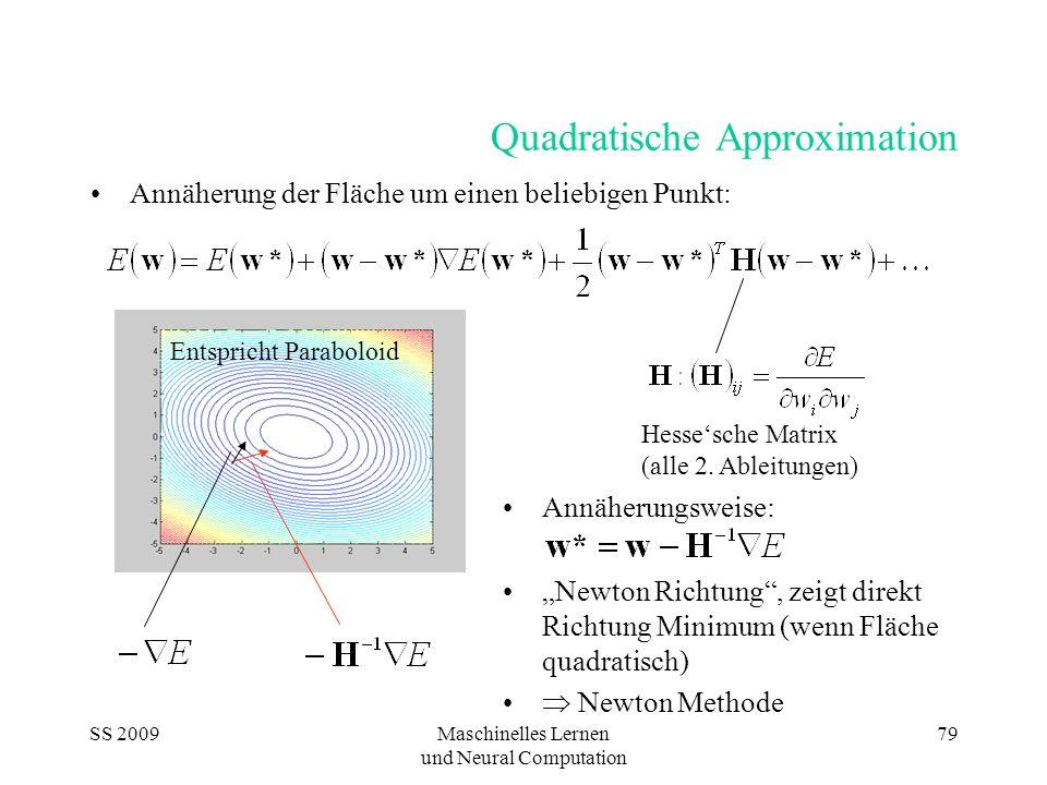 SS 2009Maschinelles Lernen und Neural Computation 79 Entspricht Paraboloid Quadratische Approximation Annäherung der Fläche um einen beliebigen Punkt: