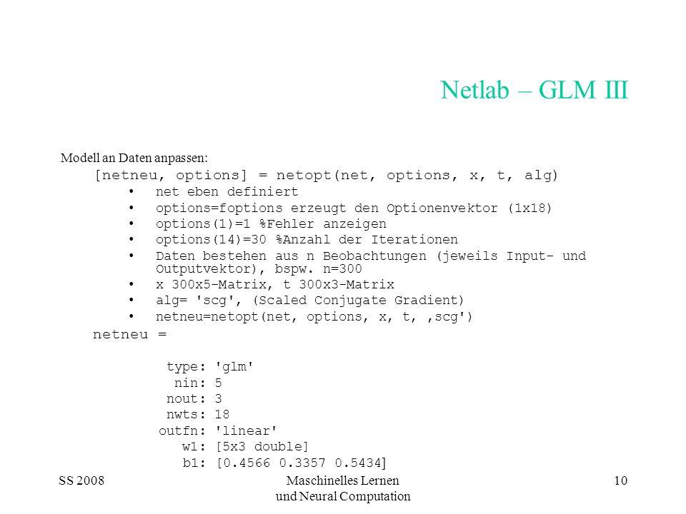 SS 2008Maschinelles Lernen und Neural Computation 10 Netlab – GLM III Modell an Daten anpassen: [netneu, options] = netopt(net, options, x, t, alg) ne