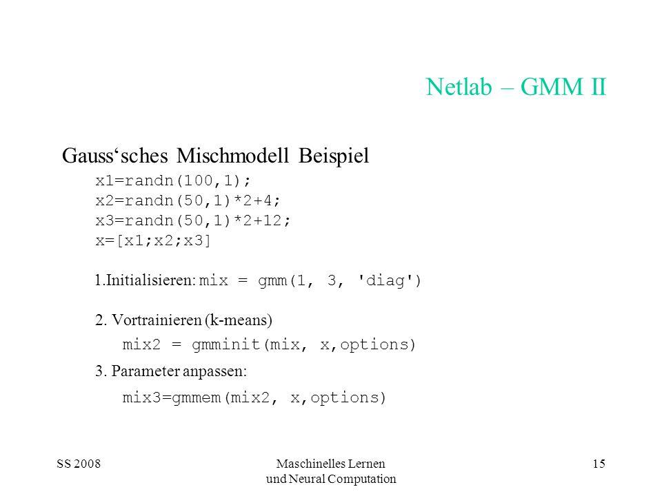 SS 2008Maschinelles Lernen und Neural Computation 15 Netlab – GMM II Gausssches Mischmodell Beispiel x1=randn(100,1); x2=randn(50,1)*2+4; x3=randn(50,