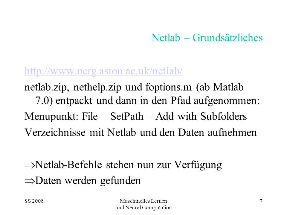 SS 2008Maschinelles Lernen und Neural Computation 7 Netlab – Grundsätzliches http://www.ncrg.aston.ac.uk/netlab/ netlab.zip, nethelp.zip und foptions.