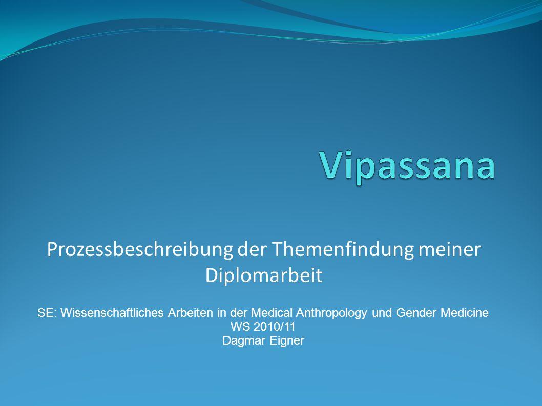 Prozessbeschreibung der Themenfindung meiner Diplomarbeit SE: Wissenschaftliches Arbeiten in der Medical Anthropology und Gender Medicine WS 2010/11 D