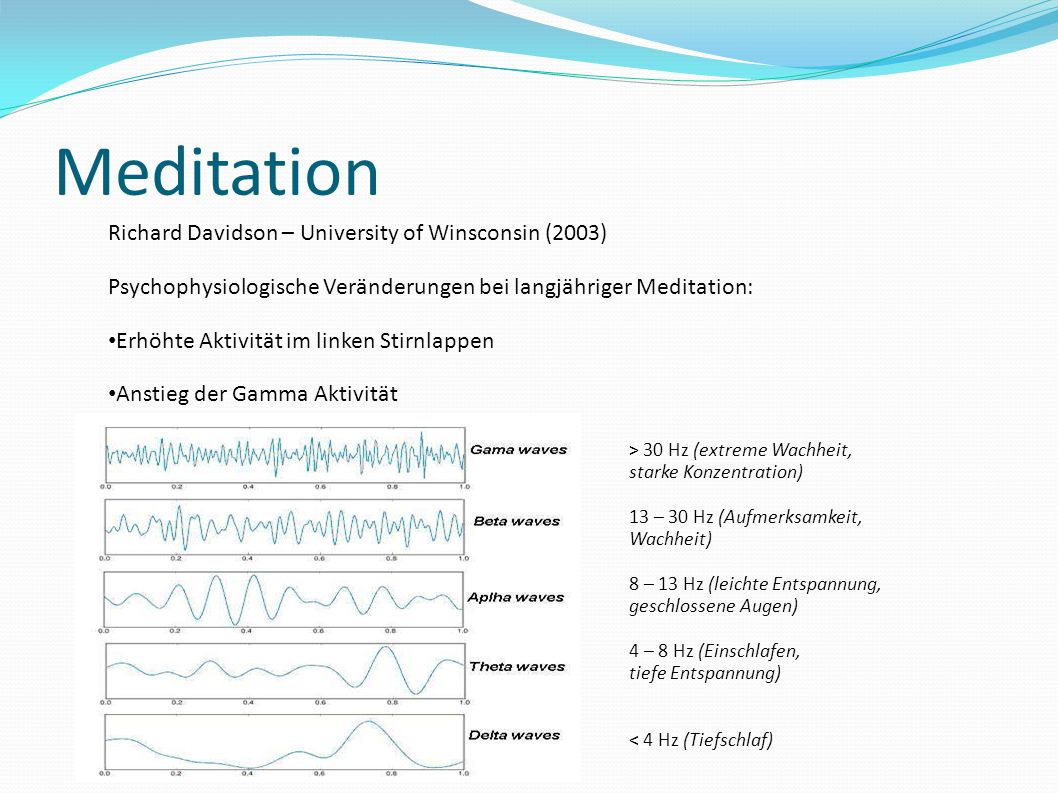 Meditation Richard Davidson – University of Winsconsin (2003) Psychophysiologische Veränderungen bei langjähriger Meditation: Erhöhte Aktivität im lin