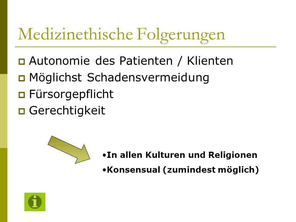 Medizinethische Folgerungen Autonomie des Patienten / Klienten Möglichst Schadensvermeidung Fürsorgepflicht Gerechtigkeit In allen Kulturen und Religi