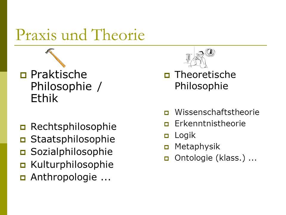 Praxis und Theorie Praktische Philosophie / Ethik Rechtsphilosophie Staatsphilosophie Sozialphilosophie Kulturphilosophie Anthropologie... Theoretisch