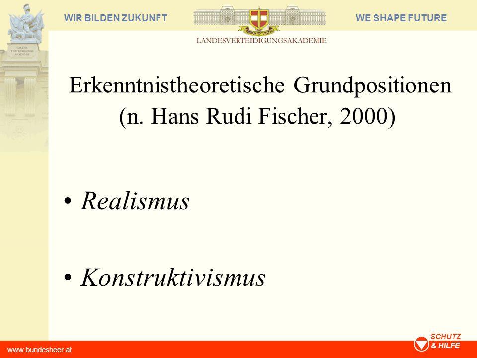 WE SHAPE FUTUREWIR BILDEN ZUKUNFT www.bundesheer.at SCHUTZ & HILFE Erkenntnistheoretische Grundpositionen (n. Hans Rudi Fischer, 2000) Realismus Konst