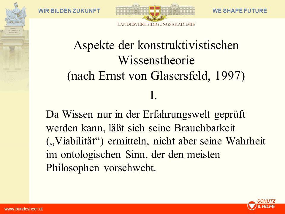 WE SHAPE FUTUREWIR BILDEN ZUKUNFT www.bundesheer.at SCHUTZ & HILFE Aspekte der konstruktivistischen Wissenstheorie (nach Ernst von Glasersfeld, 1997)