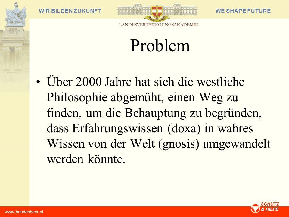 WE SHAPE FUTUREWIR BILDEN ZUKUNFT www.bundesheer.at SCHUTZ & HILFE Problem Über 2000 Jahre hat sich die westliche Philosophie abgemüht, einen Weg zu f