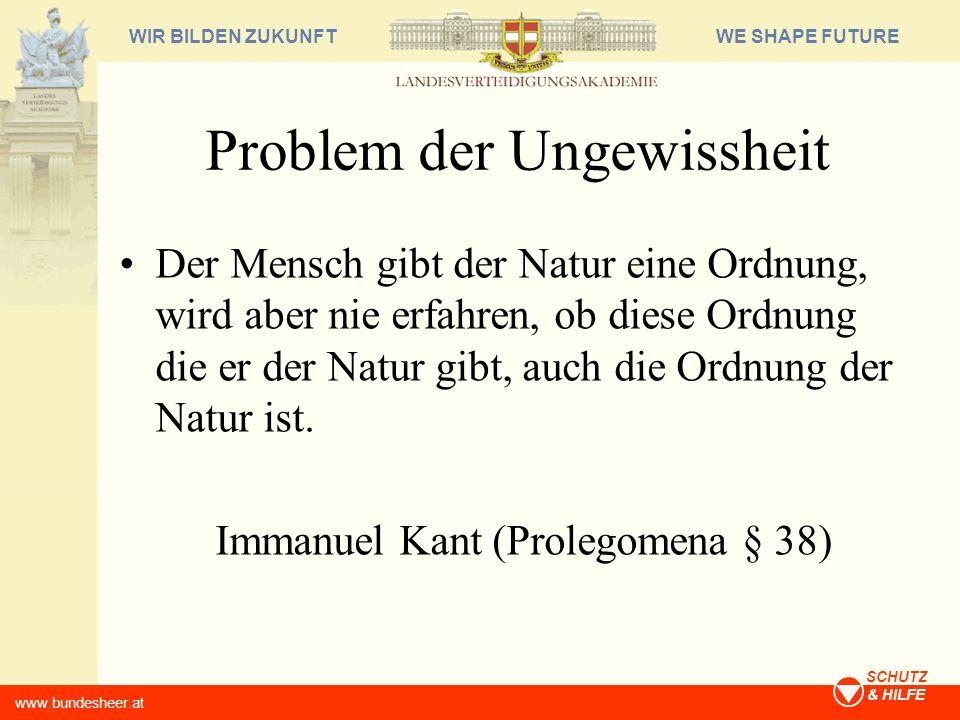 WE SHAPE FUTUREWIR BILDEN ZUKUNFT www.bundesheer.at SCHUTZ & HILFE Problem der Ungewissheit Der Mensch gibt der Natur eine Ordnung, wird aber nie erfa
