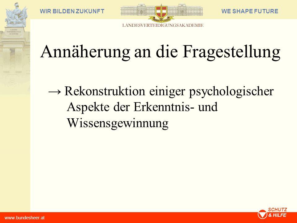 WE SHAPE FUTUREWIR BILDEN ZUKUNFT www.bundesheer.at SCHUTZ & HILFE Annäherung an die Fragestellung Rekonstruktion einiger psychologischer Aspekte der