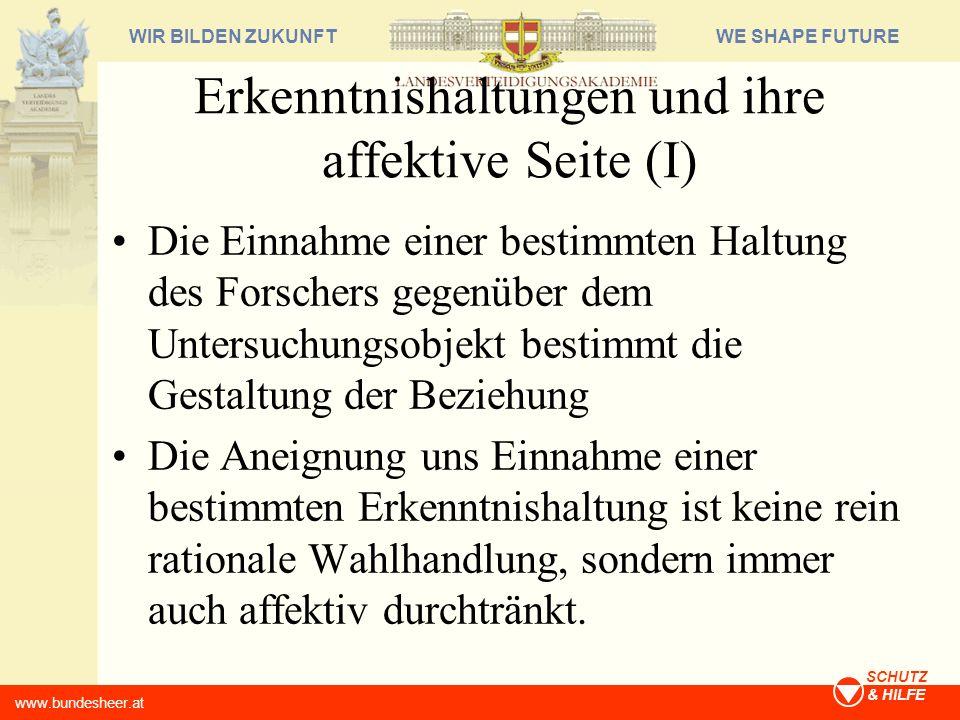 WE SHAPE FUTUREWIR BILDEN ZUKUNFT www.bundesheer.at SCHUTZ & HILFE Erkenntnishaltungen und ihre affektive Seite (I) Die Einnahme einer bestimmten Halt