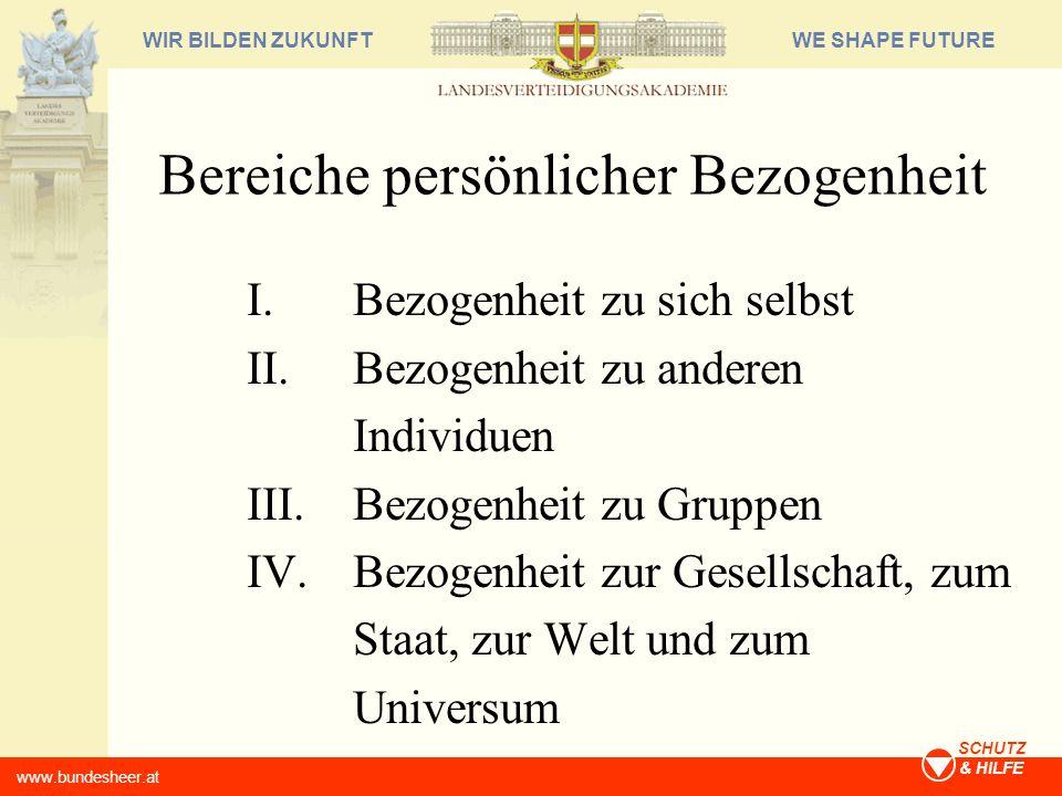 WE SHAPE FUTUREWIR BILDEN ZUKUNFT www.bundesheer.at SCHUTZ & HILFE Bereiche persönlicher Bezogenheit I.Bezogenheit zu sich selbst II.Bezogenheit zu an