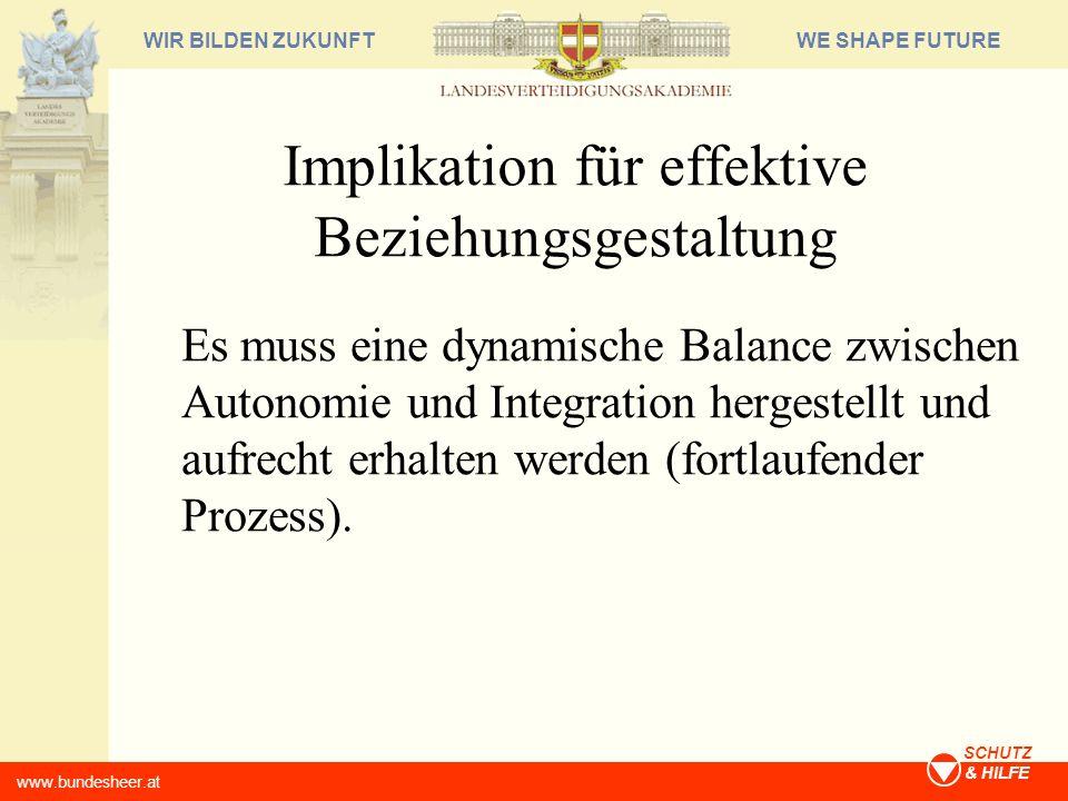 WE SHAPE FUTUREWIR BILDEN ZUKUNFT www.bundesheer.at SCHUTZ & HILFE Implikation für effektive Beziehungsgestaltung Es muss eine dynamische Balance zwis