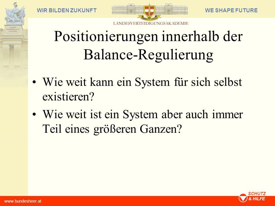 WE SHAPE FUTUREWIR BILDEN ZUKUNFT www.bundesheer.at SCHUTZ & HILFE Positionierungen innerhalb der Balance-Regulierung Wie weit kann ein System für sic