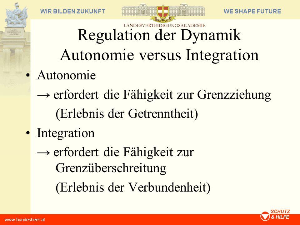 WE SHAPE FUTUREWIR BILDEN ZUKUNFT www.bundesheer.at SCHUTZ & HILFE Regulation der Dynamik Autonomie versus Integration Autonomie erfordert die Fähigke