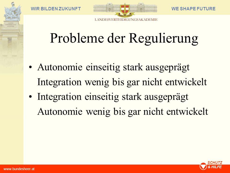 WE SHAPE FUTUREWIR BILDEN ZUKUNFT www.bundesheer.at SCHUTZ & HILFE Probleme der Regulierung Autonomie einseitig stark ausgeprägt Integration wenig bis