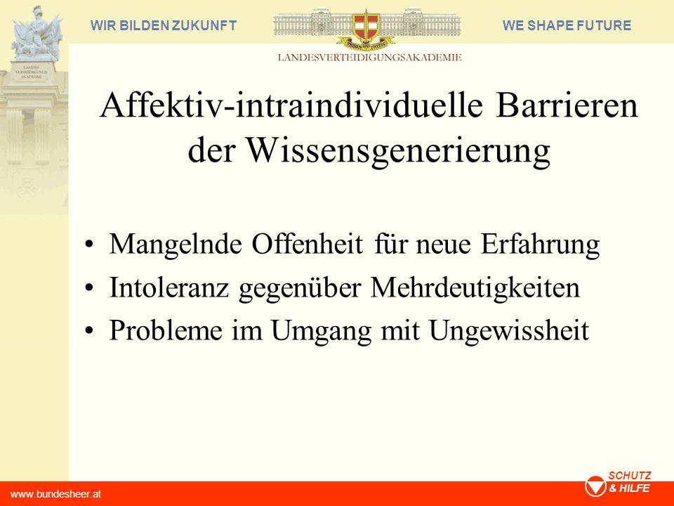 WE SHAPE FUTUREWIR BILDEN ZUKUNFT www.bundesheer.at SCHUTZ & HILFE Affektiv-intraindividuelle Barrieren der Wissensgenerierung Mangelnde Offenheit für