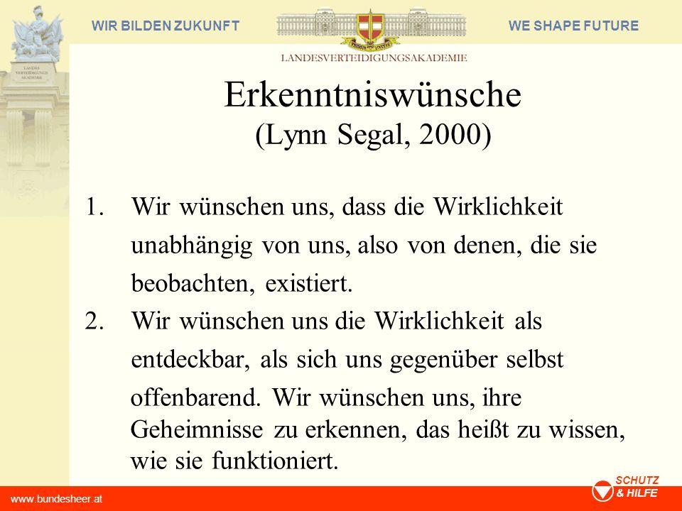 WE SHAPE FUTUREWIR BILDEN ZUKUNFT www.bundesheer.at SCHUTZ & HILFE Erkenntniswünsche (Lynn Segal, 2000) 3.
