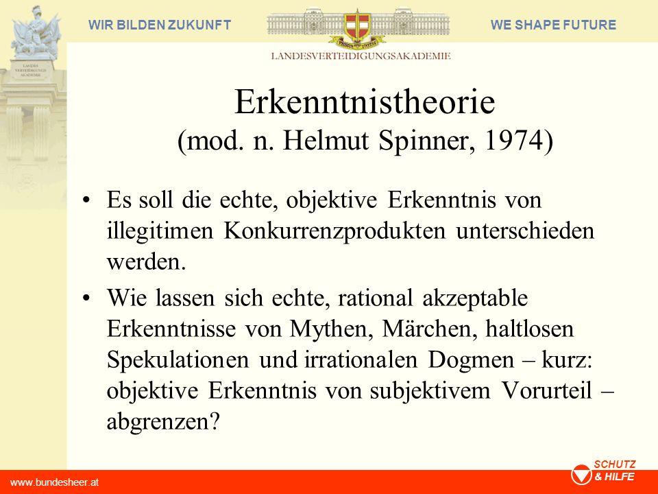 WE SHAPE FUTUREWIR BILDEN ZUKUNFT www.bundesheer.at SCHUTZ & HILFE Erkenntnistheorie (mod. n. Helmut Spinner, 1974) Es soll die echte, objektive Erken