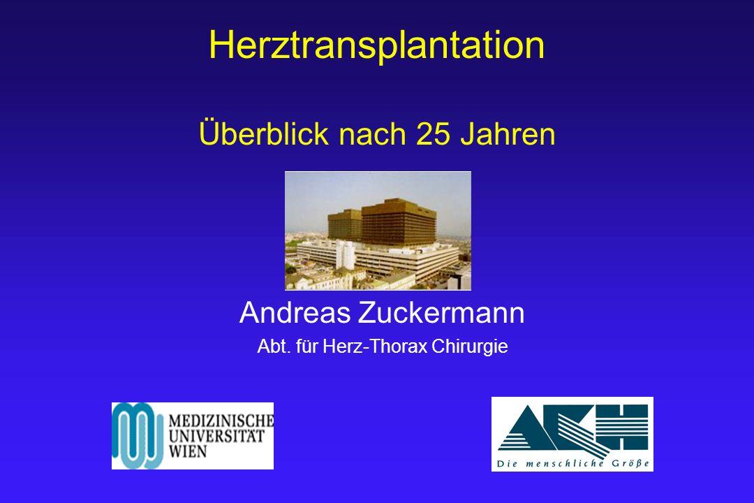 Herztransplantation Überblick nach 25 Jahren Andreas Zuckermann Abt. für Herz-Thorax Chirurgie