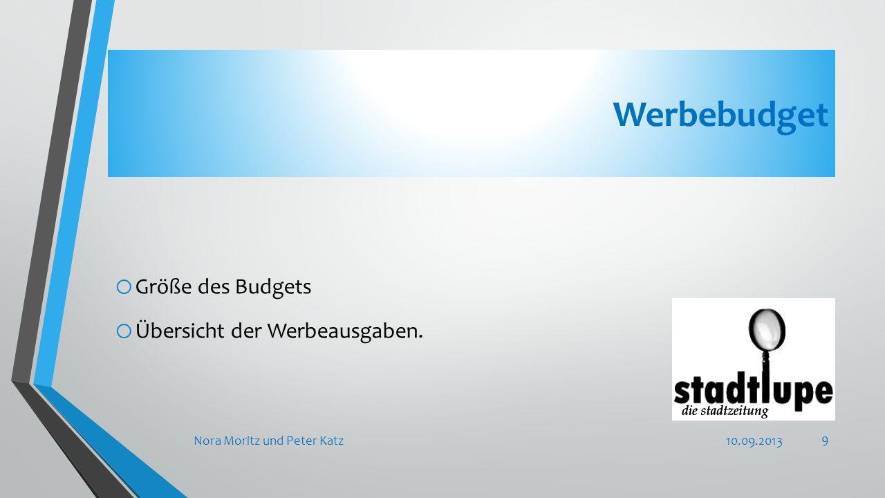 Werbebudget o Größe des Budgets o Übersicht der Werbeausgaben. 10.09.2013Nora Moritz und Peter Katz 9