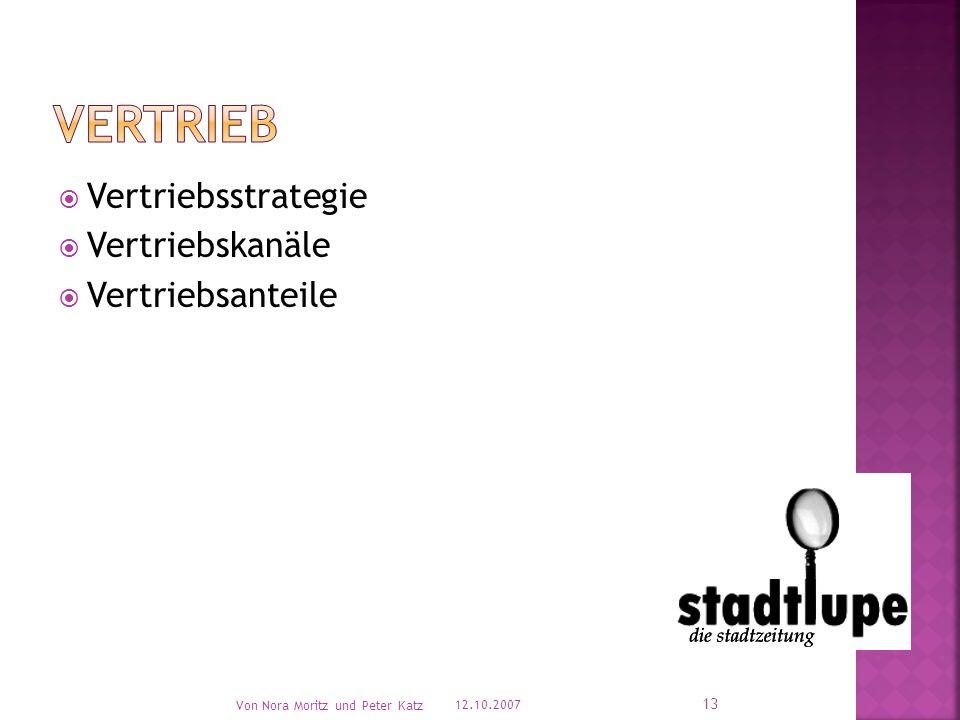 Vertriebsstrategie Vertriebskanäle Vertriebsanteile 12.10.2007 Von Nora Moritz und Peter Katz 13