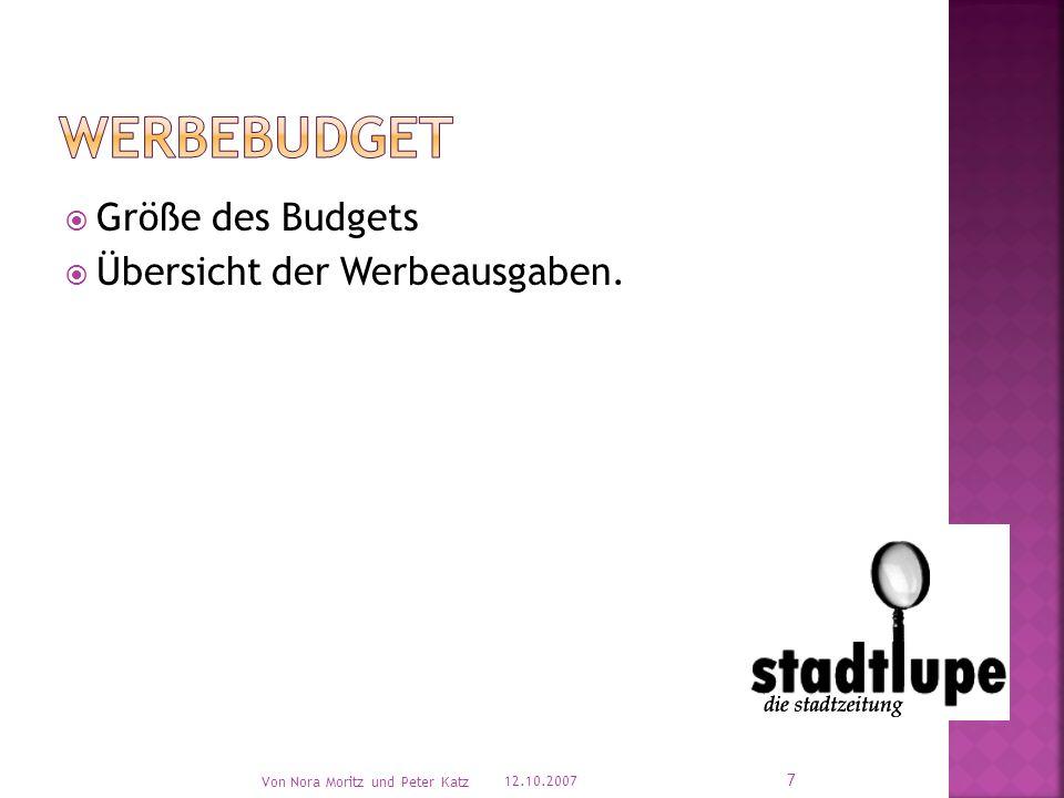 Größe des Budgets Übersicht der Werbeausgaben. 12.10.2007 Von Nora Moritz und Peter Katz 7