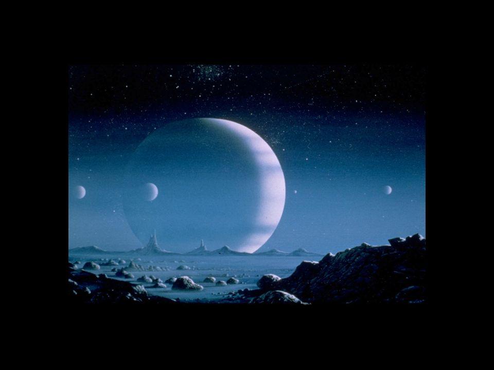 Neptune größte Monde sind Triton (Durchmesser 2705 km) und Nereide (340 km). Insgesamt besitzt Neptun 13 Monde. Triton ist der einzigste Mond im Sonne