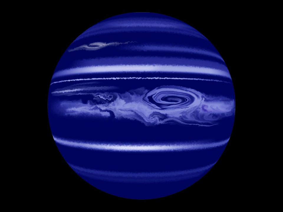 Als typischer Gasplanet hat Neptun kräftige Winde, die sich zu Streifen entlang der Längen formen, sowie große Stürme oder Wirbelstürme.