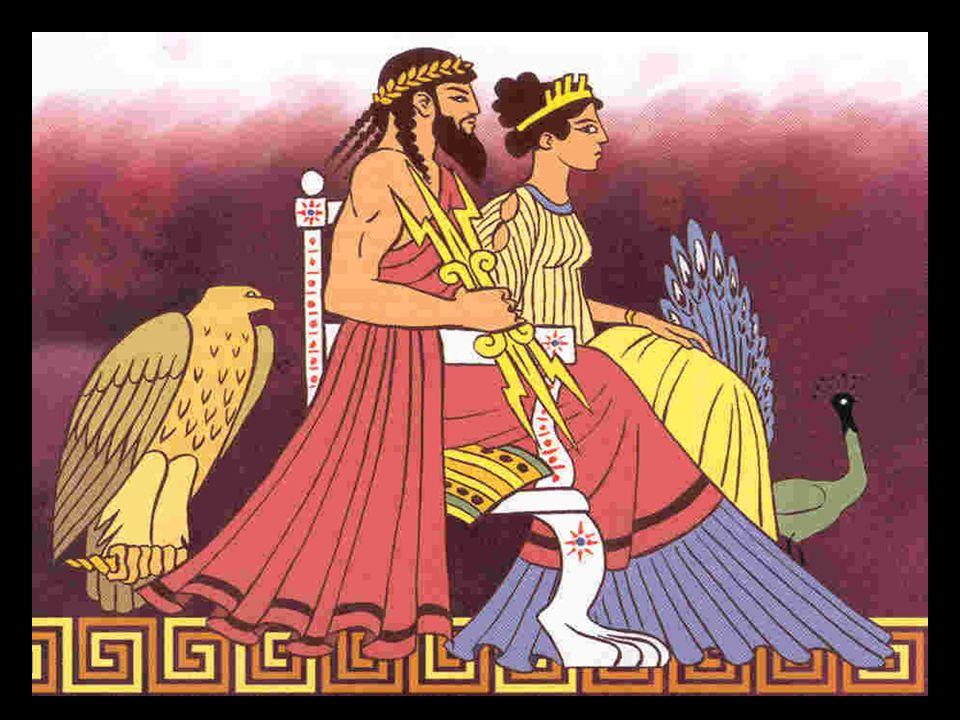 Die eifersüchtige Hera beobachtete argwöhnisch die vielen Liebschaften Zeus' und weiß, wenn er ihren Wünschen nicht Folge leistet, ihrem Ärger durch S